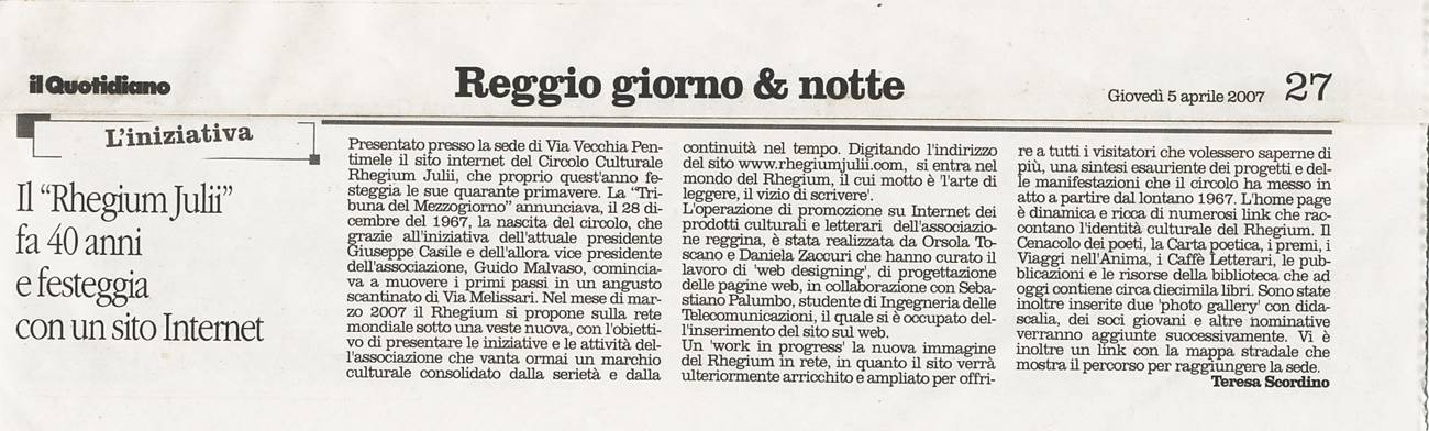 05.04.2007 Il Quotidiano